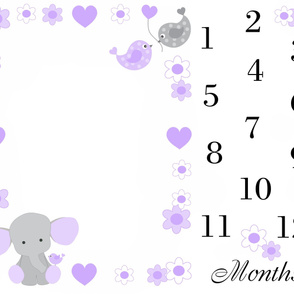 Purple Elephant Baby Girl Milestone Month Blanket
