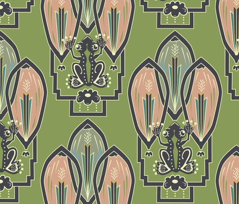 Art Frog Deco Pattern fabric by clarkyworks on Spoonflower - custom fabric