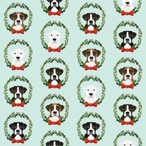 christmas boxer dog fabric - dog, dogs, wreath, noel, yule, red and green, holiday christmas fabric