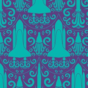 Rocket Damask (Purple and Teal Large)