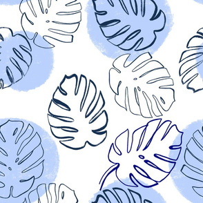 Monstera Leaves Soft Blue - large scale