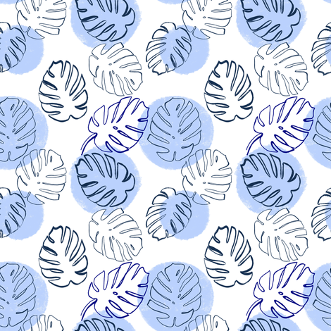 Monstera Leaves soft blue - small scale fabric by tarareed on Spoonflower - custom fabric