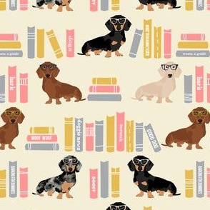 dachshund library books, book, literature, book, doxie, dog, dogs