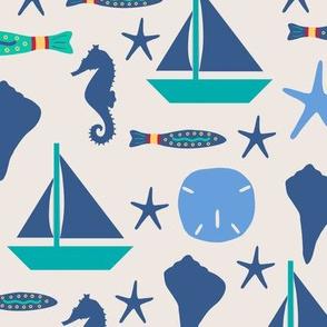 Beach Sailing Ivory Blue Large