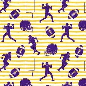 football medley - purple on gold stripes