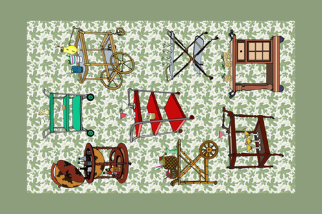retro bar carts tea towel fabric by leroyj on Spoonflower - custom fabric