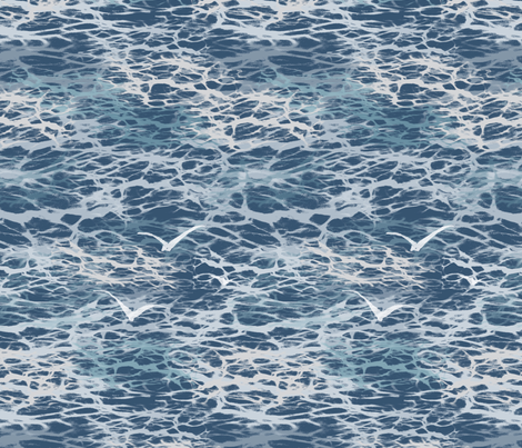 Birds over the ocean   fabric by fade-into_nature on Spoonflower - custom fabric