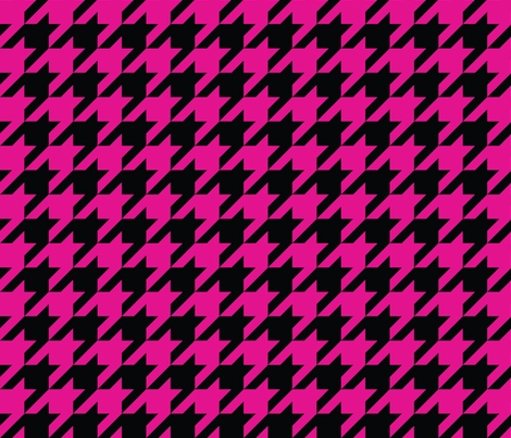 1 inch black pink houndstooth fabric by inkytea on Spoonflower - custom fabric