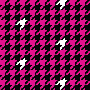 1 inch starship pink houndstooth