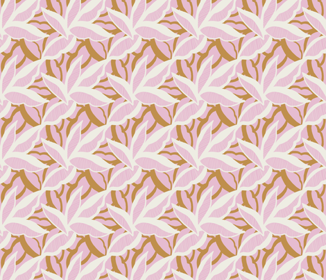 White and gold stylised leaves on pink fabric by patternanddesign on Spoonflower - custom fabric