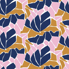 Cut paper abstract floral in pink, gold and navy