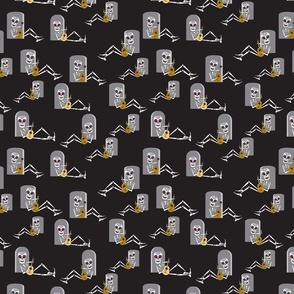 Halloween Dia de los Muertos Skeleton in black and grey