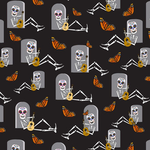 Skeleton with guitar and Monarch butterflies