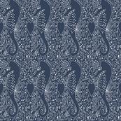 Seahorse white blue