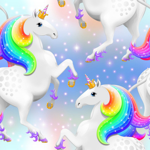 Rainbow Princess Unicorn on Blue
