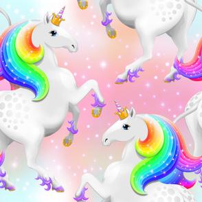 Rainbow Princess Unicorn on Pink