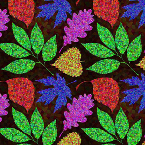 Bright multicolored mosaic leaves