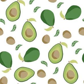 avocado fabric  - fruit, vegetables, food, avocados fabric - white