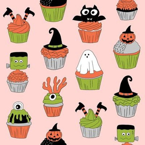 halloween cupcakes fabric // cupcakes, food, sweets, cute, halloween, ghost, witch, frankenstein - peach
