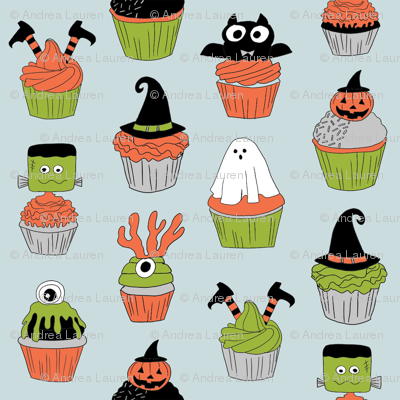 halloween cupcakes fabric // cupcakes, food, sweets, cute, halloween, ghost, witch, frankenstein - blue