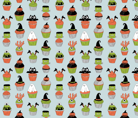 halloween cupcakes fabric // cupcakes, food, sweets, cute, halloween, ghost, witch, frankenstein - blue fabric by andrea_lauren on Spoonflower - custom fabric