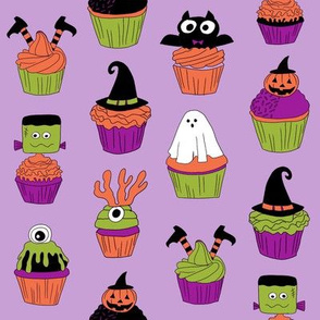 halloween cupcakes fabric // cupcakes, food, sweets, cute, halloween, ghost, witch, frankenstein - purple