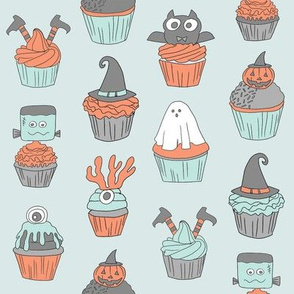 halloween cupcakes fabric // cupcakes, food, sweets, cute, halloween, ghost, witch, frankenstein - light