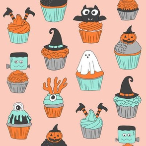 halloween cupcakes fabric // cupcakes, food, sweets, cute, halloween, ghost, witch, frankenstein - mint and peach