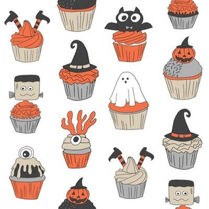 halloween cupcakes fabric // cupcakes, food, sweets, cute, halloween, ghost, witch, frankenstein - white