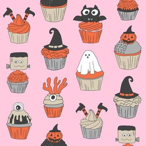 halloween cupcakes fabric // cupcakes, food, sweets, cute, halloween, ghost, witch, frankenstein - pink