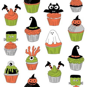 halloween cupcakes fabric // cupcakes, food, sweets, cute, halloween, ghost, witch, frankenstein - white and lime