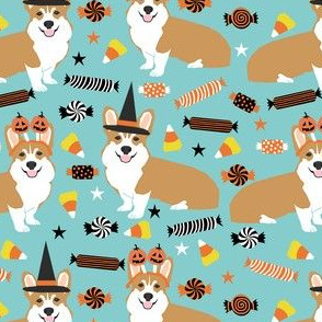 corgi halloween candy fabric - corgi, corgis, dog, dogs, candy corn, orange and black - blue