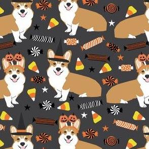 corgi halloween candy fabric - corgi, corgis, dog, dogs, candy corn, orange and black - charcoal