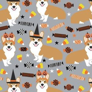 corgi halloween candy fabric - corgi, corgis, dog, dogs, candy corn, orange and black - grey