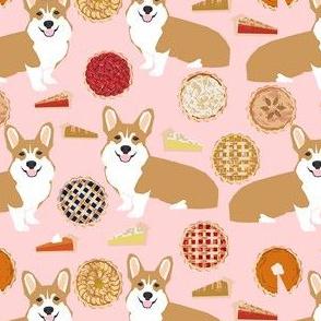 corgi pies fabric - pumpkin pie, cherry pie, bakery, baker, food, cooking, fall, autumn, corgi dog - pink