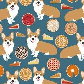 corgi pies fabric - pumpkin pie, cherry pie, bakery, baker, food, cooking, fall, autumn, corgi dog - blue