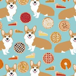 corgi pies fabric - pumpkin pie, cherry pie, bakery, baker, food, cooking, fall, autumn, corgi dog - light blue