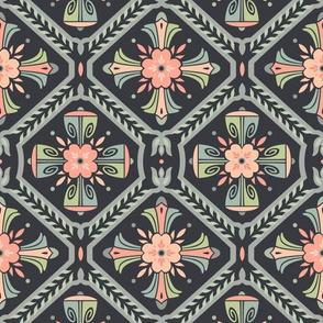Retro Deco Flower Tiles Dark