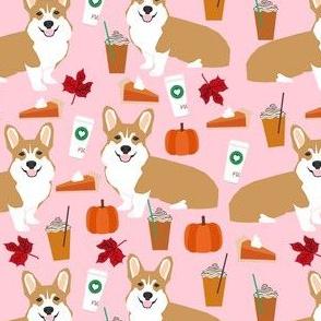 corgi pumpkin spice latte - coffee, latte, corgi, corgis, pumpkin spice, dog dogs - pink