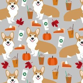 corgi pumpkin spice latte - coffee, latte, corgi, corgis, pumpkin spice, dog dogs - grey