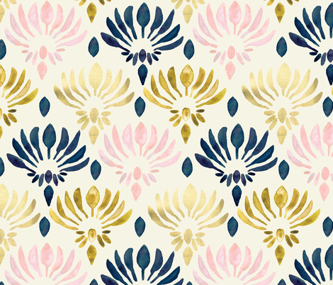 Stylized Watercolor Lotus Pattern  fabric by tangerine-tane on Spoonflower - custom fabric