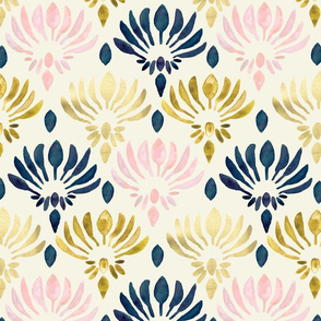 Stylized Watercolor Lotus Pattern