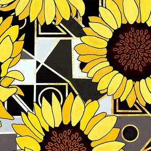 Sunflowers & Art Deco Gold, Black & White Background - Big