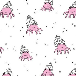 Adorable kawaii under water world lobster crab and shell illustration pattern girls pink