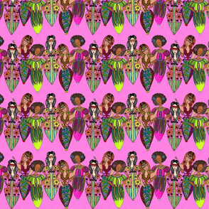 Hippies on hot pink background