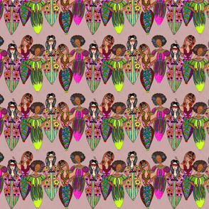 Hippies on dusty rose background