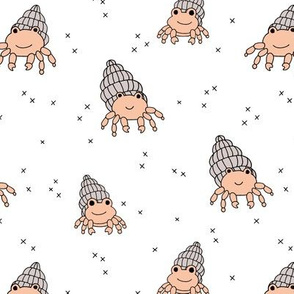 Adorable kawaii under water world lobster crab and shell illustration pattern gender neutral beige