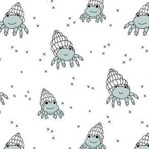 Adorable kawaii under water world lobster crab and shell illustration pattern boys blue