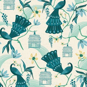 Aviary  - Peacock Chinoiserie Cream