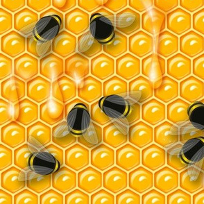Dripping Honey Comb with Bees